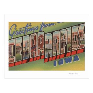Cedar Rapids, Iowa - Large Letter Scenes Postcard