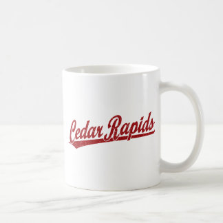 Cedar Rapids script logo in red Coffee Mug