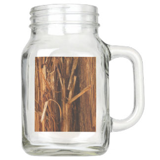 Cedar Textured Wooden Bark Look Mason Jar
