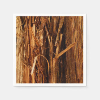 Cedar Textured Wooden Bark Look Paper Napkin