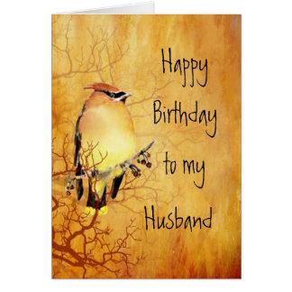 Cedar Waxwing Bird Best Husband Birthday Card
