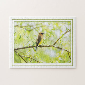 Cedar Waxwing with Border Jigsaw Puzzle