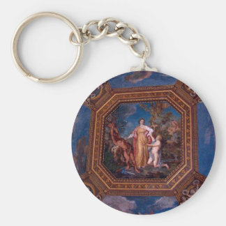Ceiling in the Vatican in Rome, Italy Basic Round Button Key Ring