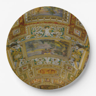 Ceiling in the Vatican Museum in Rome Italy Paper Plate