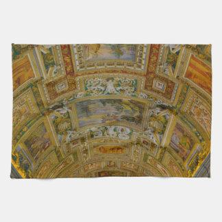 Ceiling in the Vatican Museum in Rome Italy Tea Towel