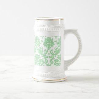 Celadon and White Elegant Damask Pattern Beer Stein