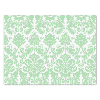 Celadon and White Elegant Damask Pattern Tissue Paper
