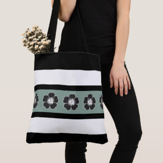 CELADON-FLORAL-STRIPE-Everyday_Stylish-TOTES-BAGS Tote Bag