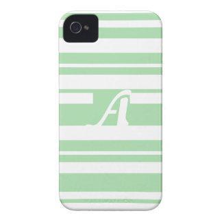Celadon Green and White Random Stripes Monogram iPhone4 Case