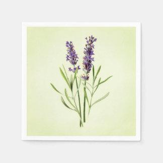 Celadon Green Painted Lavender Sprig Botanical Paper Napkin