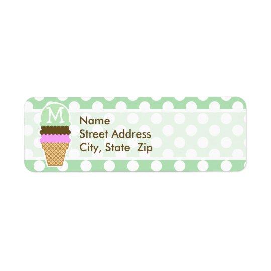 Celadon Green Polka Dots; Ice Cream Cone Return Address Label