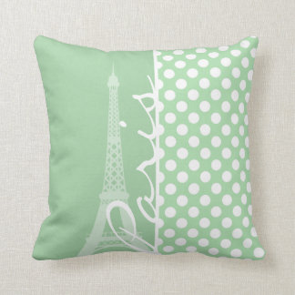Celadon Green Polka Dots; Paris Cushion