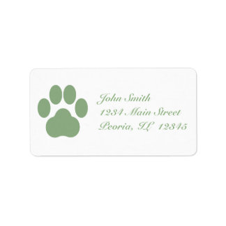 Celadon Pawprint Address Labels