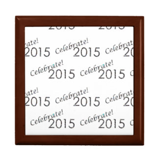 Celebrate 2015 New Year's Silver on White Keepsake Boxes