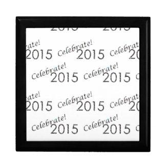 Celebrate 2015 New Year's Silver on White Trinket Box