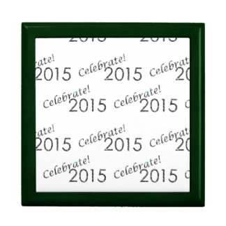 Celebrate 2015 New Year's Silver on White Gift Boxes
