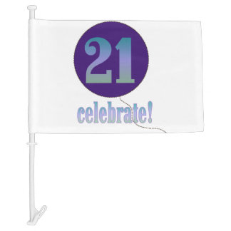 Celebrate 21st Birthday Car Flag