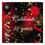 Celebrate 50 50th Birthday Party Black Red Stars Personalised Invite