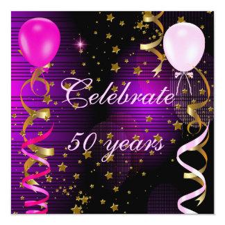 Celebrate 50 50th Birthday Party Pink Purple Stars Card