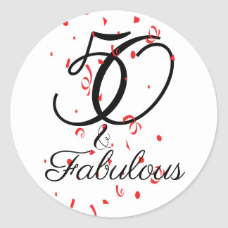 Celebrate 50 and Fabulous Birthday Classic Round Sticker