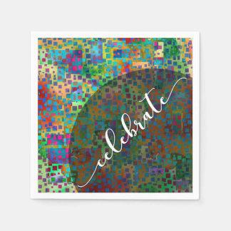 Celebrate: Abstract Colorful Confetti Graduation Disposable Serviette