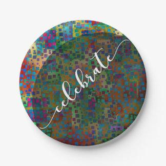 Celebrate: Abstract Colorful Confetti Graduation Paper Plate