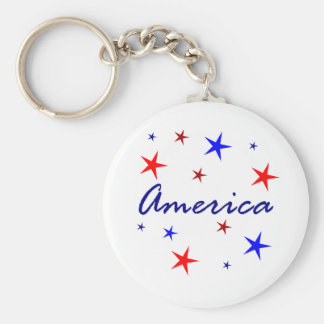 Celebrate America Basic Round Button Key Ring