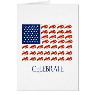 Celebrate American Flag Lobster Greeting Card