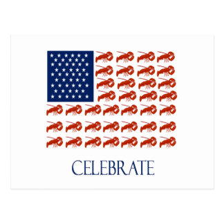 Celebrate American Flag Lobster Postcard