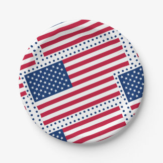 Celebrate American US Flag 7 Inch Paper Plate