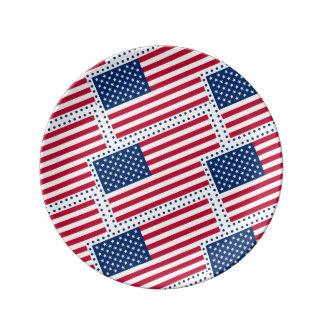Celebrate American US Flag Porcelain Plate