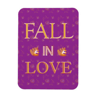Celebrate Autumn with Fall in Love Custom Design Rectangular Photo Magnet