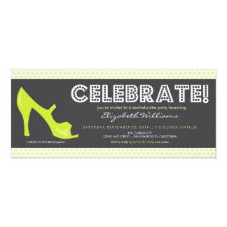 """CELEBRATE! Billboard Bachelorette Invite (lime) 4"""" X 9.25"""" Invitation Card"""