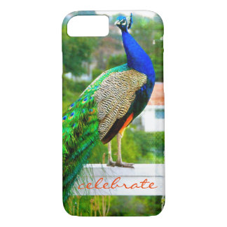 """Celebrate"" blue peacock photo cell phone case"