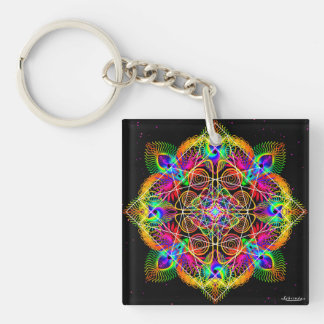 Celebrate Change/Wings of Expectation Double-Sided Square Acrylic Key Ring