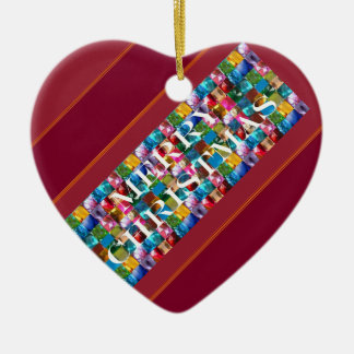 Celebrate CHRISTMAS :  Crazy Colorful n SHARE Joy Ceramic Heart Decoration