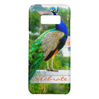 """Celebrate"" Cute, Stylish Blue Green Peacock Photo Case-Mate Samsung Galaxy S8 Case"