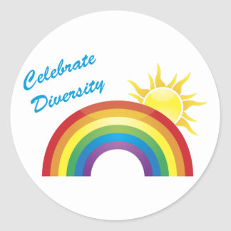 Celebrate Diversity Rainbow Sun Stickers