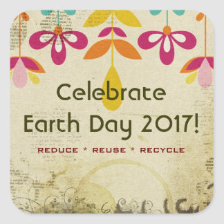 Celebrate Earth Day 2017 Abstract Floral Stickers