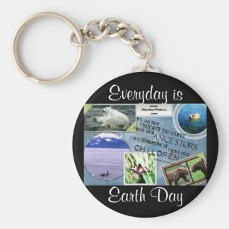 Celebrate Earth Day~ Everyday is Earth Day Basic Round Button Key Ring