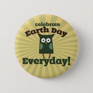 Celebrate Earth Day Everyday Owl 6 Cm Round Badge