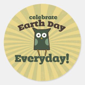 Celebrate Earth Day Everyday Owl Round Sticker