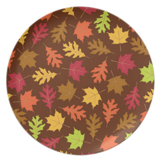 Celebrate Falling Autumn Colorful Leaves Pattern Plates