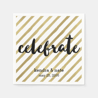 Celebrate | Faux Gold Stripe Wedding Anniversary Paper Napkin