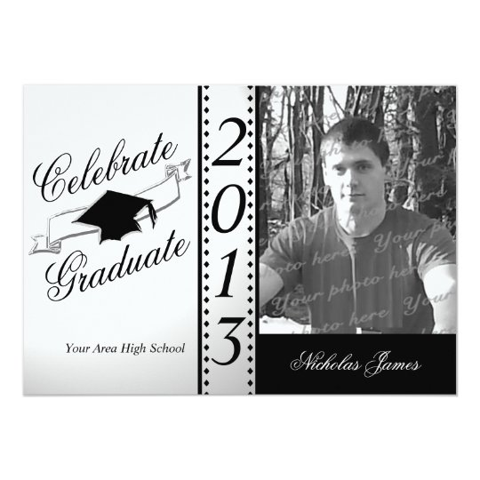 Celebrate Graduate Black Photo Card
