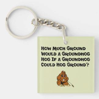 Celebrate Groundhog Day Double-Sided Square Acrylic Key Ring