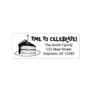 Celebrate Happy Birthday Party Cake Address Stamp