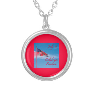 Celebrate July 4 Independence Day Round Pendant Necklace