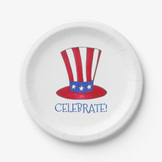 Celebrate July 4th Patriotic Uncle Sam USA America 7 Inch Paper Plate