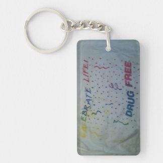 Celebrate life drug free Single-Sided rectangular acrylic key ring